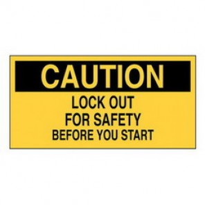 Brady® 60176 Lockout Sign, 2-1/4 in H x 4-1/2 in W, Black on Yellow, Surface Mount, B-946 Vinyl