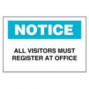 Brady® 95275 Admittance Sign, 7 in H x 10 in W, Black/Blue on White, Surface Mount, B-401 Plastic