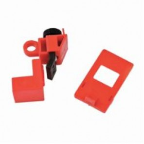 Brady® 65396 Clamp-On Circuit Breaker Lockout, 120/277 VAC, Red, Nylon/Polypropylene, 9/32 in Max Dia Padlock Shackle, For Use With Lightweight Padlock with Shackle Up to 9/32 in Dia