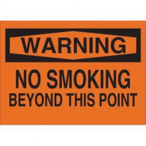 Brady® 69601 No Smoking Sign, 10 in H x 14 in W, Black on Orange, Surface Mount, B-120 Premium Fiberglass