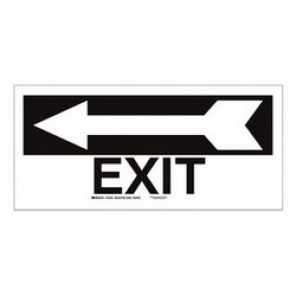 Brady® 84628 Exit & Directional Sign, 6-1/2 in H x 14 in W, Black on White, Surface Mount, B-302 Polyester