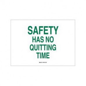 Brady® 70518 Safety Slogan Sign, 10 in H x 14 in W, Green on White, Surface Mount, B-120 Premium Fiberglass