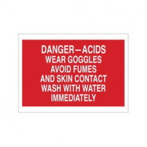 Brady® 73490 Chemical & Hazardous Material Sign, 10 in H x 14 in W, White on Red, Surface Mount