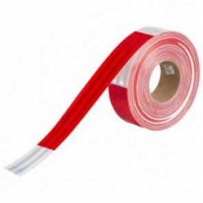 Brady® 76436 Vehicle Conspicuity Tape, 50 yd L x 0.02 to 0.024 in THK, DOT-C2 White/Red (Alternating Pattern), B-752 Diamond Grade Reflective Sheeting