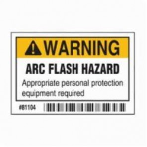 Brady® 81104 Laminated Rectangle Arc Flash Protection Label, 2 in H x 3 in W, Black/Orange on White, Self-Adhesive Mount, B-302 Polyester