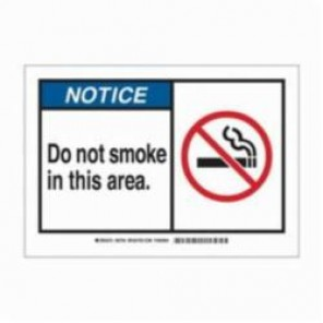 Brady® 83939 Laminated Rectangle Security Sign, 3-1/2 in H x 5 in W, Black/Blue on White, Self-Adhesive Mount, B-302 Polyester