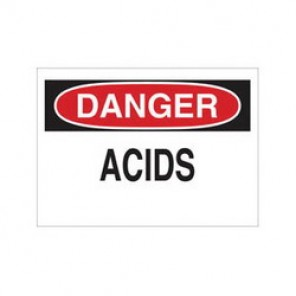 Brady® 84335 Laminated Chemical & Hazardous Material Sign, 10 in H x 14 in W, Black/Red on White, Surface Mount
