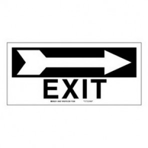 Brady® 84627 Exit & Directional Sign, 6-1/2 in H x 14 in W, Black on White, Surface Mount, B-302 Polyester