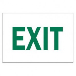 Brady® 84676 Exit & Directional Sign, 10 in H x 14 in W, Green on White, Surface Mount, B-302 Polyester