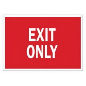 Brady® 84680 Exit & Directional Sign, 10 in H x 14 in W, Red on White, Surface Mount, B-302 Polyester