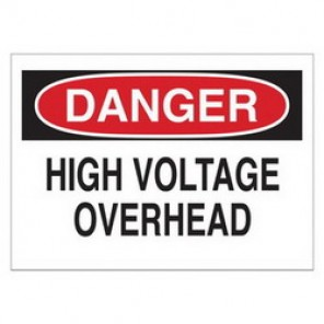 Brady® 84895 Electrical Hazard Sign, 10 in W x 7 in H, DANGER HIGH VOLTAGE OVERHEAD, Black/Red on White