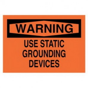 Brady® 84946 Electrical Hazard Sign, 14 in W x 10 in H, WARNING USE STATIC GROUNDING DEVICES, Black on Red