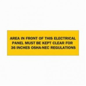 Brady® 84949 High Performance Rectangle Electrical Hazard Sign, 3-1/2 in H x 10 in W, Black on Yellow, Surface Mount, B-302 Polyester