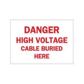 Brady® 84959 Electrical Hazard Sign, 10 in W x 7 in H, DANGER HIGH VOLTAGE CABLE BURIED HER, Red on White