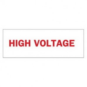 Brady® 84966 Electrical Hazard Sign, 14 in W x 5 in H, HIGH VOLTAGE, Red on White, B-302 Polyester