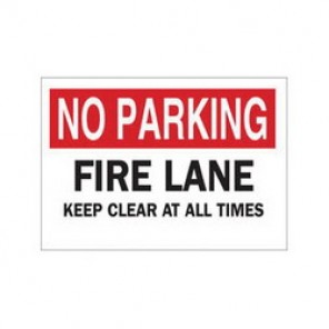 Brady® 85294 Fire Sign, 10 in H x 14 in W, Black/Red on White, Surface Mount, B-302 Polyester