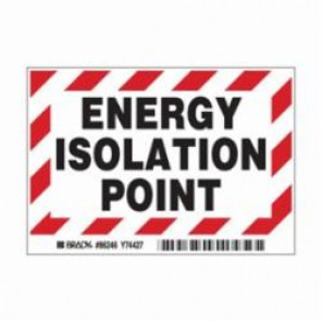 Brady® 86246 Laminated Rectangle Lockout Point Label, 3-1/2 in H x 5 in W, Black/Red on White, B-302 Polyester