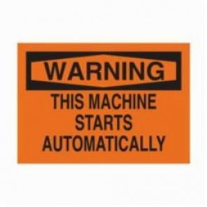 Brady® 25040 Rectangle Machine & Operational Sign, 10 in H x 14 in W, Black on Orange, Surface Mount, B-401 Plastic