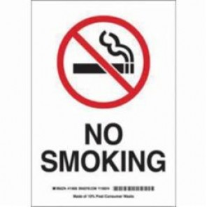 Brady® 87795 No Smoking Sign, 5 in H x 3-1/2 in W, Black/Red on White, Surface Mount, B-302 Polyester