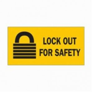 Brady® 88303 High Performance Laminated Rectangular Lockout Sign, 2-1/4 in H x 4-1/2 in W, Black on Yellow, B-302 Polyester