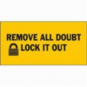 Brady® 88316 Rectangular Lockout Sign, 2-1/4 in H x 4-1/2 in W, Black on Yellow, Surface Mount, B-302 Polyester