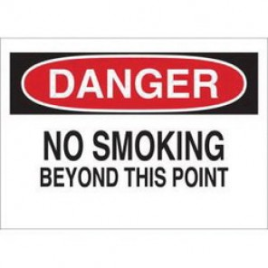 Brady® 88375 No Smoking Sign, 10 in H x 14 in W, Black/Red on White, Surface Mount, B-302 Polyester