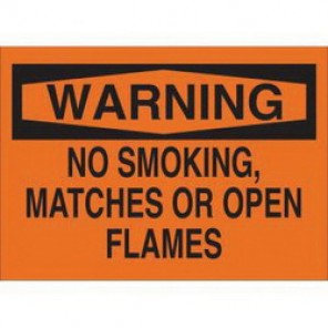 Brady® 88405 No Smoking Sign, 10 in H x 14 in W, Black on Orange, Surface Mount, B-302 Polyester
