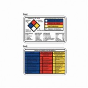 Brady® 89257 Right-To-Know Wallet Card, Spanish, (Spanish Version - NFPA DIAMOND, NEW COLOR BAR, HAZARD RATINGS...etc) legend, (Spanish Version) RATING EXPLANATION GUIDE...etc back legend, 2-1/8 in L x 3-3/8 in W, Black&#