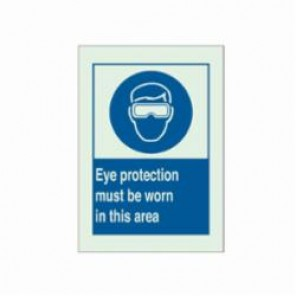 Brady® 90726 BradyGlo® Caution Sign, 10 in H x 14 in W, Blue on Green, Surface Mount, B-347 Glow-In-The-Dark Plastic