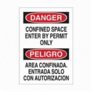 Brady® 90803 Laminated Rectangle Danger Sign, 14 in H x 10 in W, Black/Red on White, Self-Adhesive Mount, B-302 Polyester