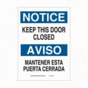 Brady® 90811 Laminated Rectangle Notice Sign, 14 in H x 10 in W, Black/Blue on White, Self-Adhesive Mount, B-302 Polyester