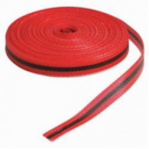 Brady® 91175 Woven Barricade Tape, (black & red horizontal warning stripes), 3/4 in W x 150 ft L, Black/Red, B-903 Polypropylene