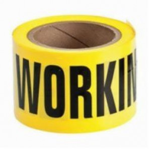 Brady® 91215 Non-Adhesive Barricade Tape, CAUTION MEN WORKING, 3 in W x 200 ft L, Black on Yellow, B-912 Polyethylene