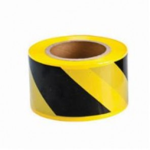 Brady® 91238 Barricade Tape, Diagonal Warning Stripes, 3 in W x 500 ft Roll L, Black on Yellow, Polyethylene