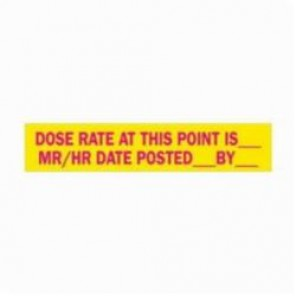 Brady® 93637 Rectangle Radiation Hazard Sign, 1-11/16 in H x 8 in W, Magenta on Yellow, Polycarbonate