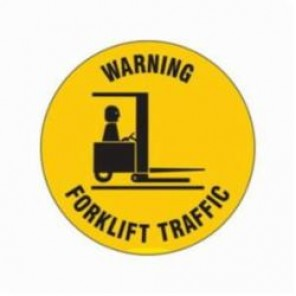 Brady® 97615 Circle Laminated Floor Safety Sign, 17 in H x 17 in W, Black on Yellow, Self-Adhesive Mount, B-819 Vinyl