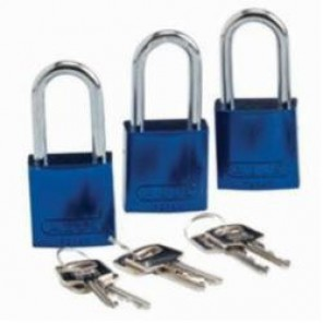 Brady® 105883 Lightweight Safety Padlock, Alike Key, 1/4 in Shackle, LOTO-10 Solid Aluminum Body, Blue, 6-Pin Cylindrical Locking