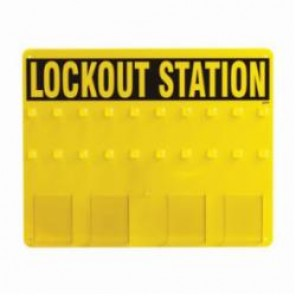 Brady® Prinzing® LC208G Lockout Station, Unfilled, 19 in H, 20 Padlocks, Acrylic