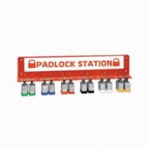 Brady® Prinzing® LR360E Large Padlock Station, 24 Locks, 3 ft H x 16 in W x 1-1/4 in D, 14 ga Steel with Red Plastic Coating