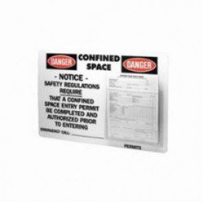 Brady® Prinzing® PC1 Confined Space Permit Center, English, DANGER CONFINED SPACE NOTICE SAFETY REGULATIONS REQUIRED...ETC, 15-3/4 in L x 23-1/2 in W, Black/Red on White
