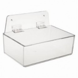 Brady® Prinzing® PD206A Dispenser Tray With Lid, Wall/Table Top Mount, Clear, Acrylic Glass
