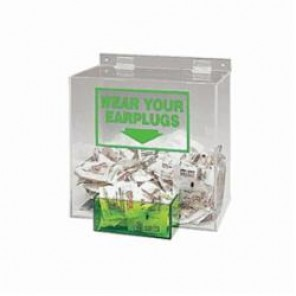 Brady® PD439G Ear Plug Dispenser Box, 200 Pairs, Table/Wall Mount, Clear/Green, Acrylic Glass