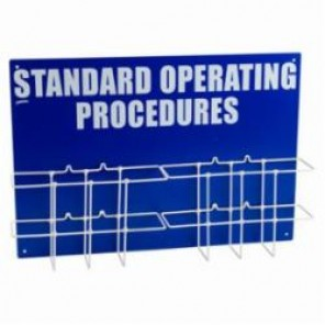 Brady® Prinzing® SM017A Double Standard Operating Procedure Station, Standard Operating Procedures, English, White on Blue, 20 in H x 27-3/4 in W