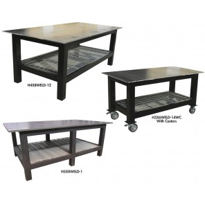 "HEAVY DUTY WELDING TABLES, Size W x D x H: 72 x 36 x 36"", Top: 1/4"", Optional Casters: None"