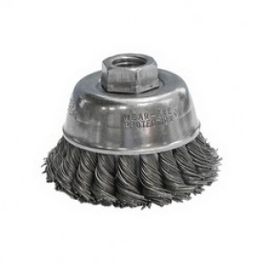 CGW® 60104 Heavy Duty High Speed Cup Brush, 4 in Dia, 5/8-11, 0.02 mm Carbon Knot Wire