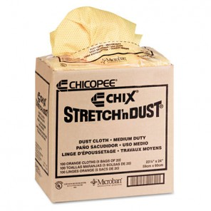 Chix CHI0416 Stretch 'n Dust Cloths, 23-1/4 x 24, Orange/Yellow, 20/Bag, 5 Bags/Carton