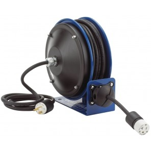 COMPACT POWER CORD REELS, Includes Accessory: Single Industrial Receptacle, AWG: 12 ga., Amps: 20