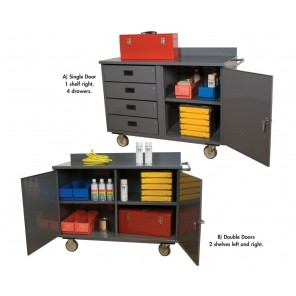 "46"" WIDE ECONOMY MOBILE CABINET, Ltr. No.: A, Single Door, 1 Shelf Right, 4 Drawers, Size W x D x H: 46 x 21 x 34"""
