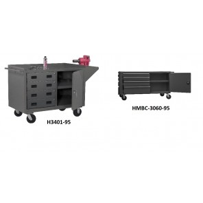 "MOBILE BENCH CABINETS, Cap. (lbs.): 2000, Size W x D x H: 60 x 24 x 38"", No. & Height Of Drawer: 4-4"", 1-6"", Available Drawer Space: 22"""