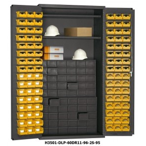 "36"" WIDE SMALL PARTS STORAGE & SECURITY CABINETS, Size O.D. W x D x H: 36 x 24 x 72"", No. of Shelves: 2, Shelf Cap. (lbs.): 900, Bins: (96) 4 x 5 x 3"", Drawers: (60) 5-3/8 x 11-1/4 x 3-1/2"", Cabinet Type: 60 JUMBO DRAWERS & 96 HOOK-ON BINS"